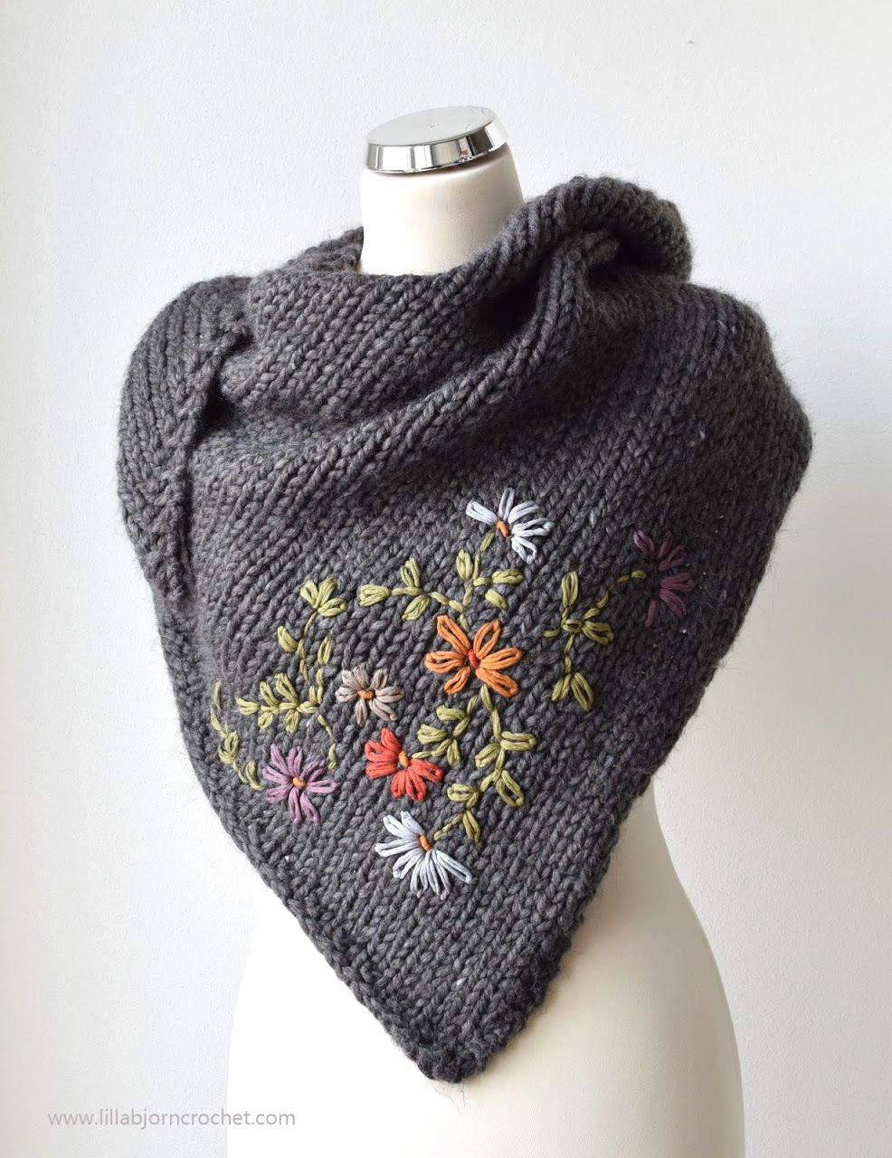 Frida Shawl, and My Embroidery-on-knit Adventure #knitting