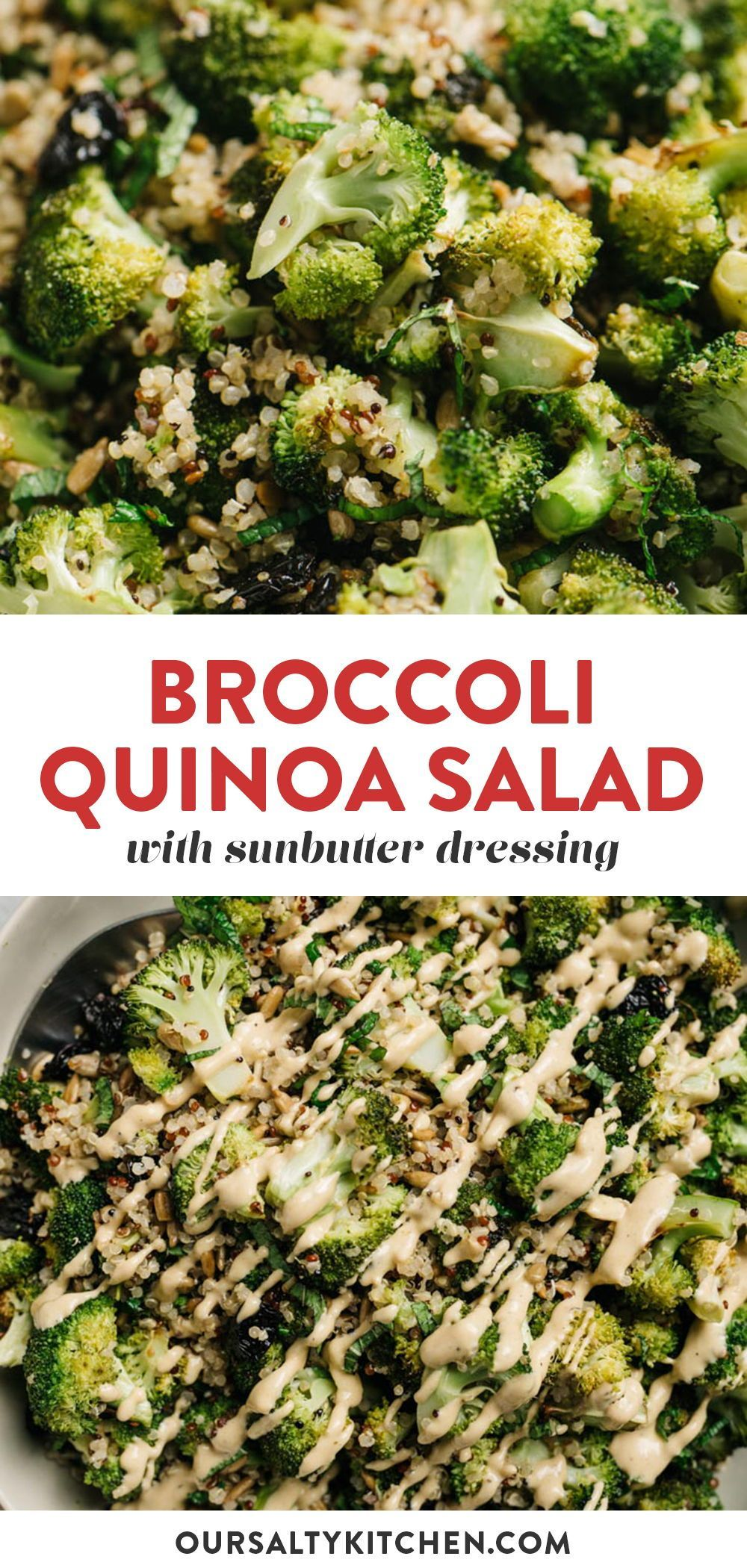 Roasted Broccoli Quinoa Salad With Sunbutter Dressing Recipe In 2020 Whole Food Recipes Healthy Freezer Meals Dinner Meal Prep