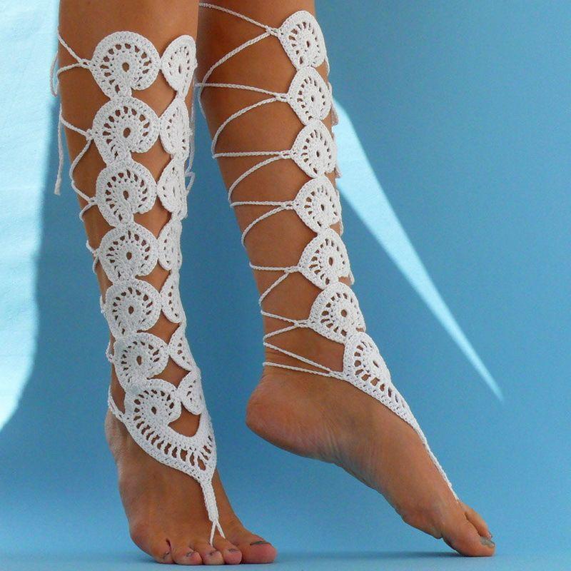 Cheap Blanco de ganchillo estilo gladiador con cordones zapatos ...