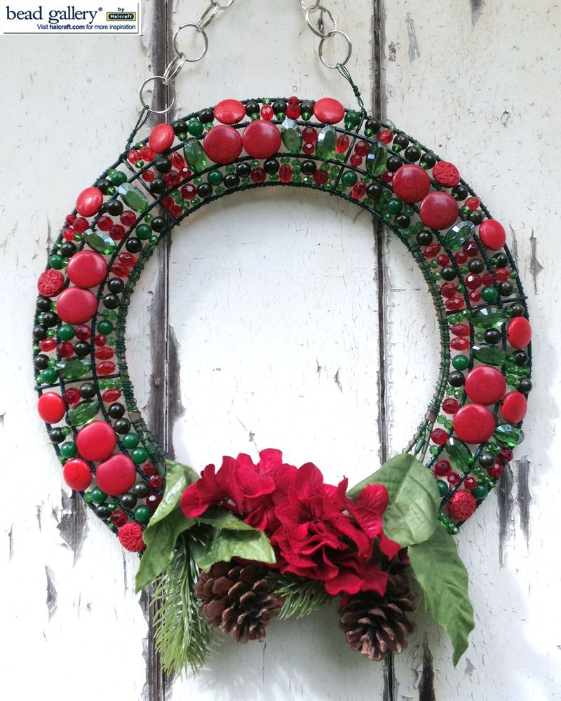 DIY beaded wire frame wreath made with BeadGallery beads