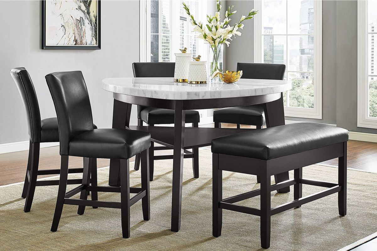 Carrara Marble Counter Height Dining Table 4 Counter Chairs
