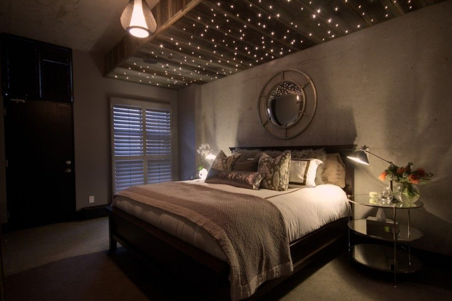 How To Make Comfortable With Mood Lighting Bedroom: Mood Lighting Bedroom  With Fibre Optic Lights And Pendant Lighting With Frosted Glass Doorsand  Round ...