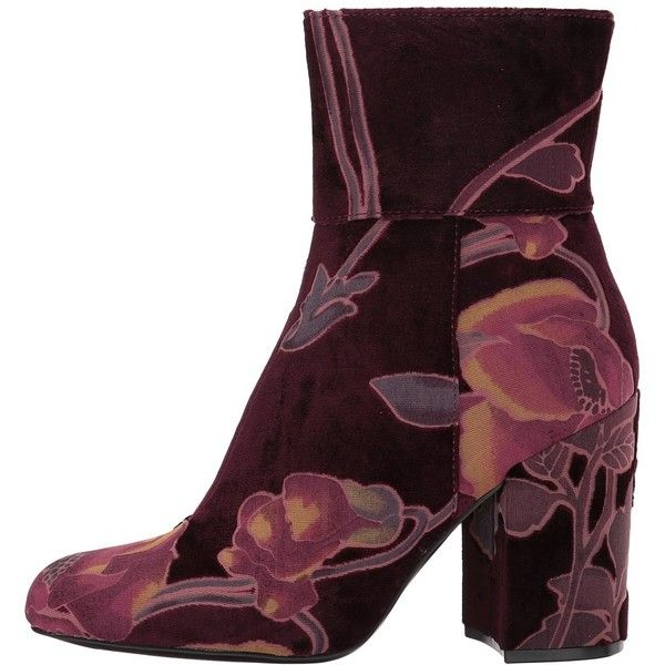 Steve Madden Grand (Burgundy Velvet) Women's Dress Zip Boots ($130) ❤ liked
