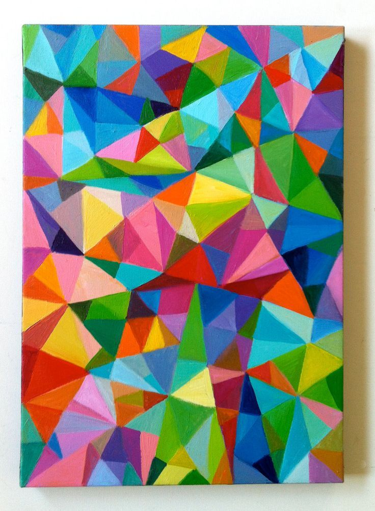 Abstract Painting Triangles Home Decor Mosaic Rainbow Colorful ART