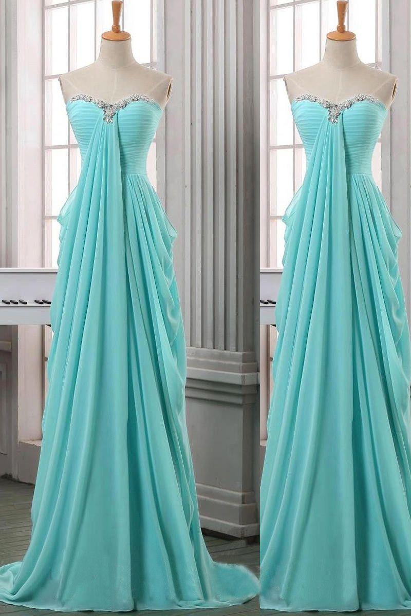 Sweetheart Long Chiffon Beading Elegant Cheap Prom Dresses OK12 ...