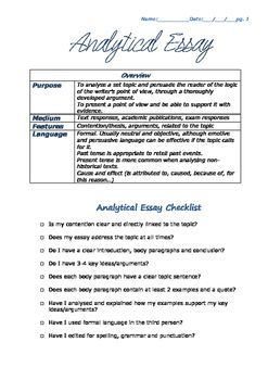 Analytical essay scaffold