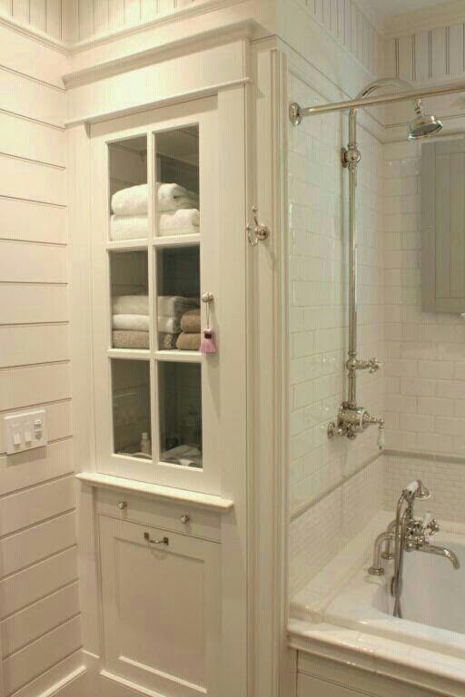 Linen Storage Behind Shower Wall Bathroom Bathroom