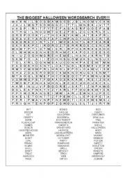 Hard Printable Word Searches for Adults | English worksheet: The biggest Halloween wordsearch EVER! (60 words)