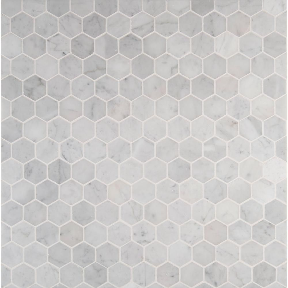 Msi carrara white hexagon 12 in x 12 in x 10 mm polished marble mesh mounted mosaic floor and Marble hex tile bathroom floor