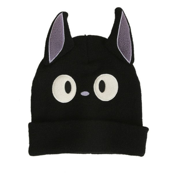 Studio Ghibli Kiki's Delivery Service Jiji Knit Watchman Beanie   Hot... (€18) ❤ liked on Polyvore featuring accessories, hats, beanie, black knit beanie, knit beanie, black knit hat, black beanie cap and knit beanie hats