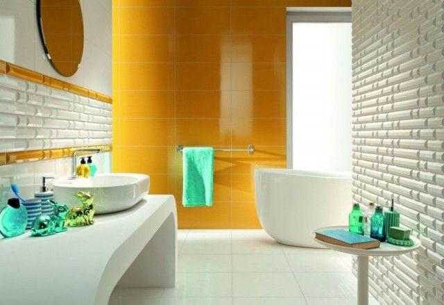 Salle de bain colorée - 55 meubles, carrelage et peinture - peindre plafond salle de bain