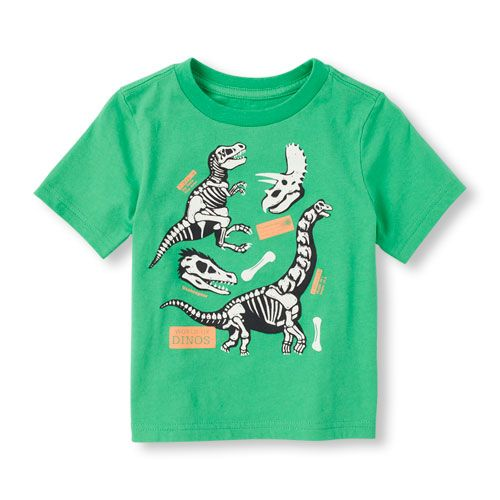 db6d8b5f5 s Toddler Boys Short Sleeve Glow-In-The-Dark Dinosaur Skeleton ...