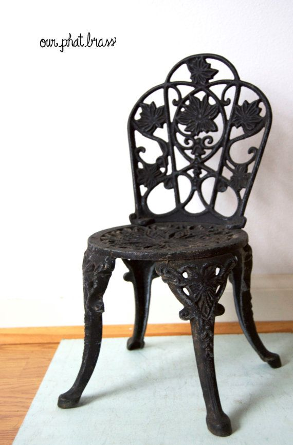 Small Black Cast Iron Chair Flower Pot Holder Doll By OurPhatBrass