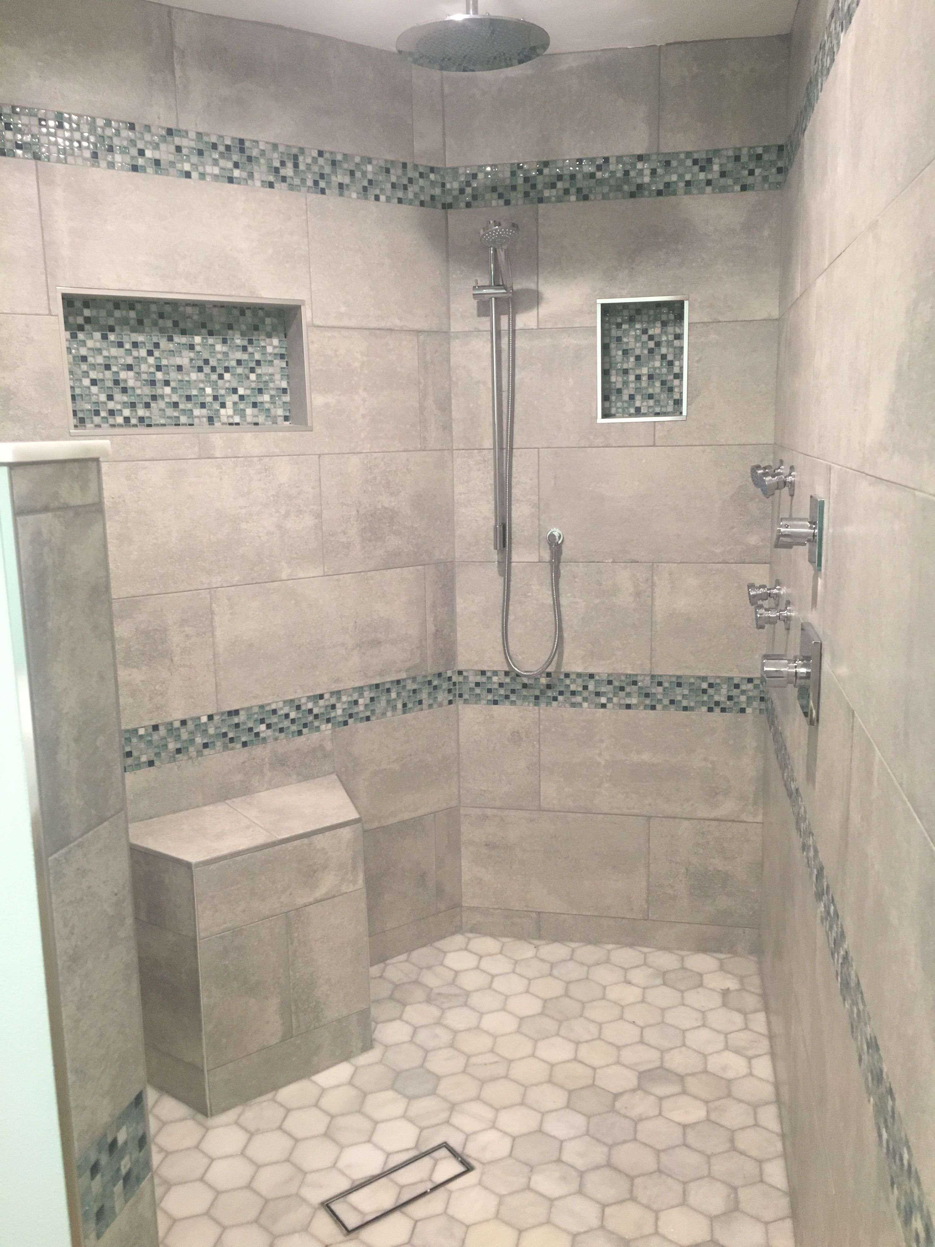 Beach Themed Master Shower Double Shower Heads Jets Walk In Master Shower Double Shower Heads Bathroom Remodel Shower