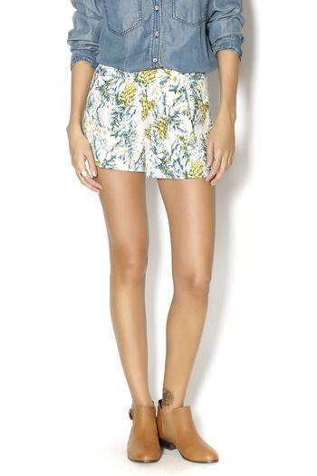 tropical shorts + denim shirt + booties