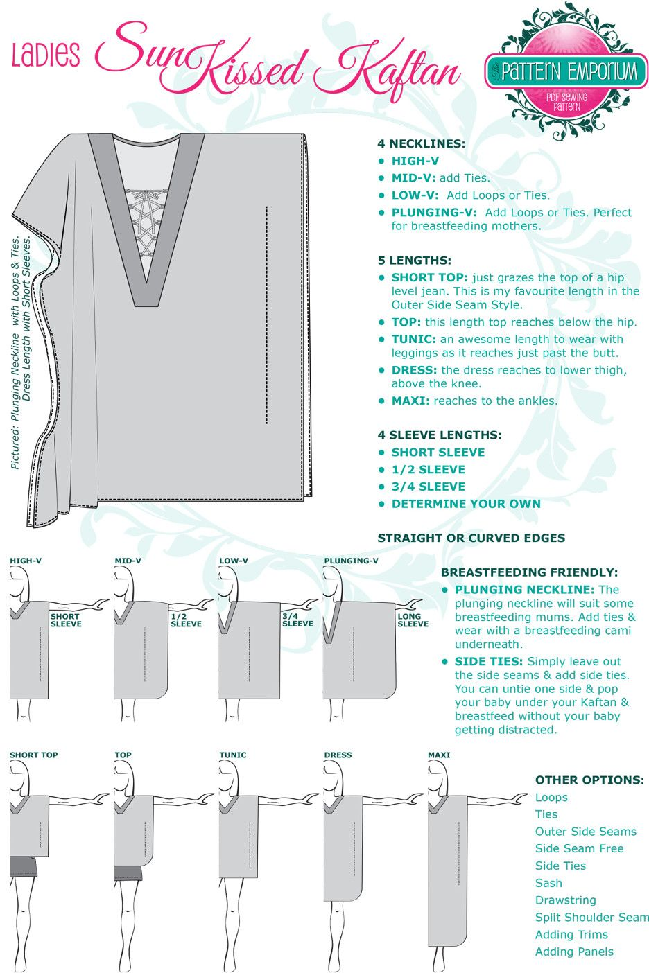 Sunkissed Kaftan Sewing Pattern by Pattern Emporium | Sewing ...