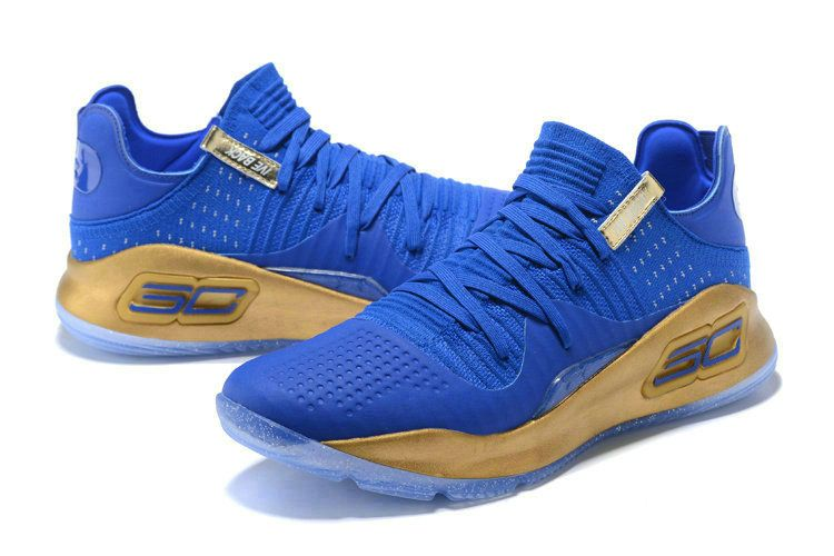 689a511e316 New Curry Shoes 2018 Under Armour Curry 4 Low Royal Blue Gold ...
