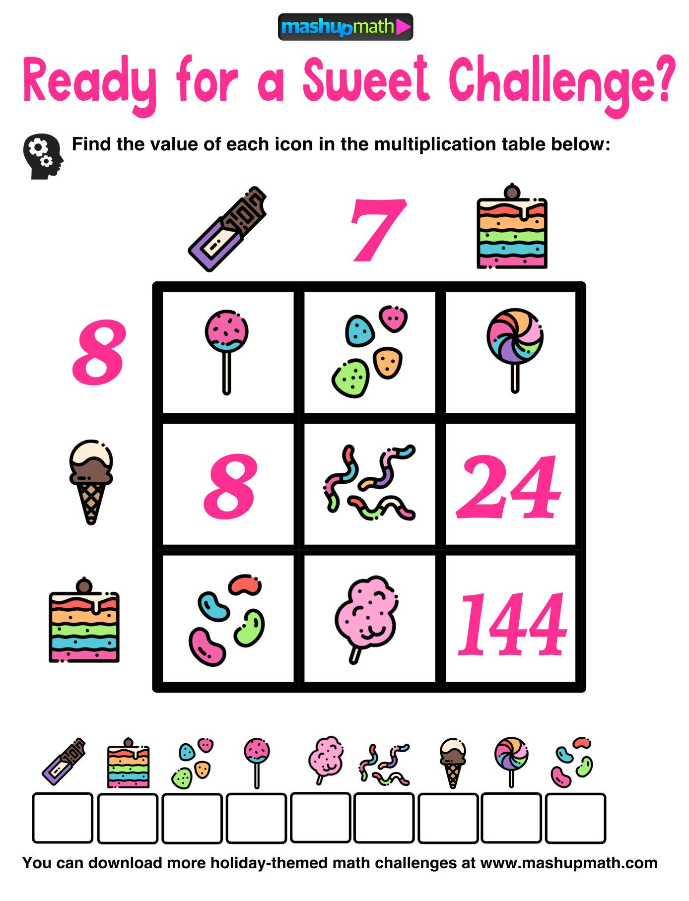 Multiplication Table Worksheets: Free Printable Math Puzzles — Mashup Math    Maths puzzles [ 1816 x 1388 Pixel ]