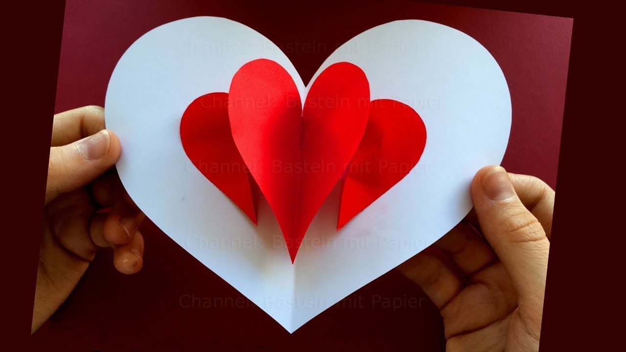Pop Up Card Heart Easy Pop Up Card Tutorial Youtube Diy Valentines Cards Diy Valentine S Cards For Him Birthday Card Pop Up