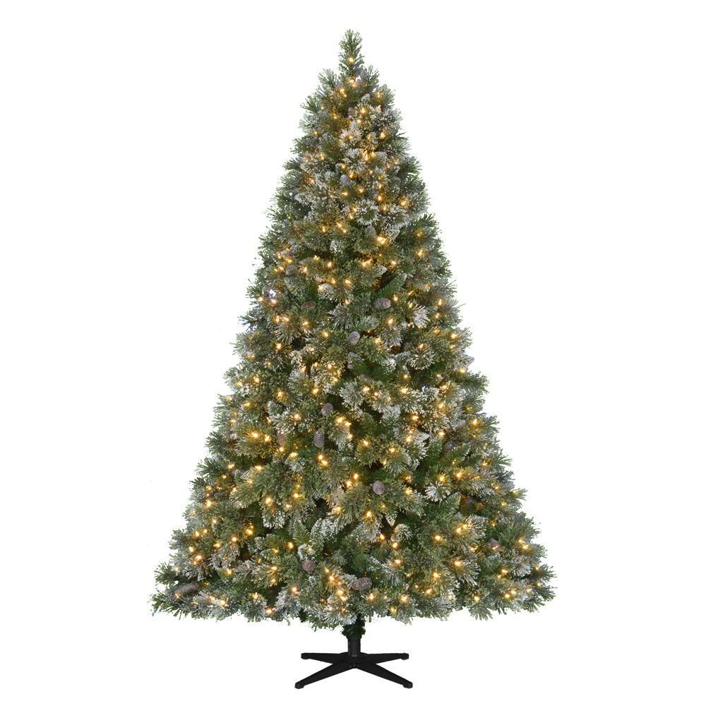 pre lit led sparkling pine quick set artificial christmas tree with warm white lights and pinecones greens - Artificial Pre Lit Christmas Trees