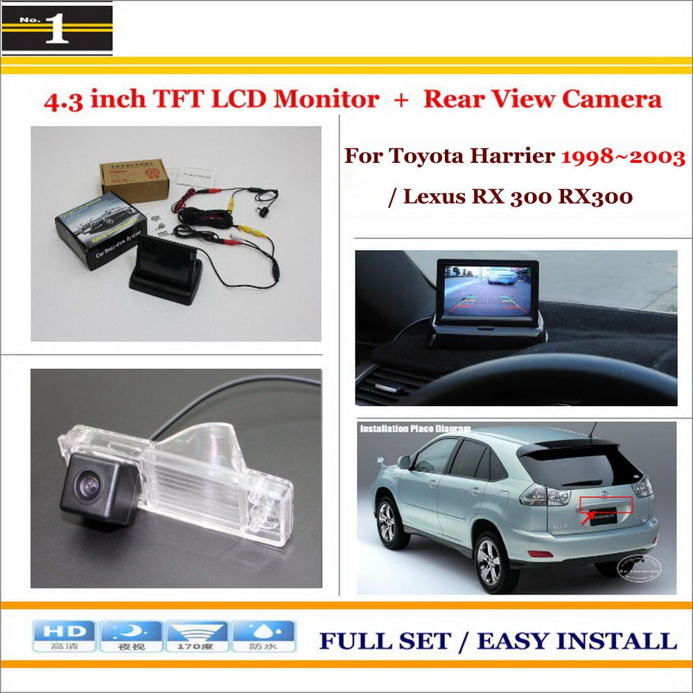 for toyota harrier lexus rx 300 rx300 in car 4 3 color lcd monitor car rear back up camera 2 in 1 park parking system [ 1000 x 1000 Pixel ]