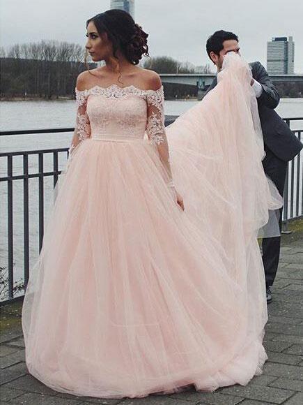 A Line Empire Waist Off Shoulder Strapless Tulle Train Dresses Wedding Dresses Blush Pink Wedding Dress Pink Wedding Dresses Online Wedding Dress