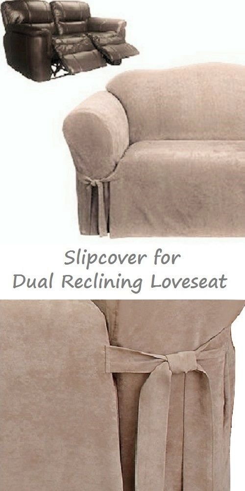 Dual Reclining Loveseat Slipcover Suede Taupe Sure Fit 2