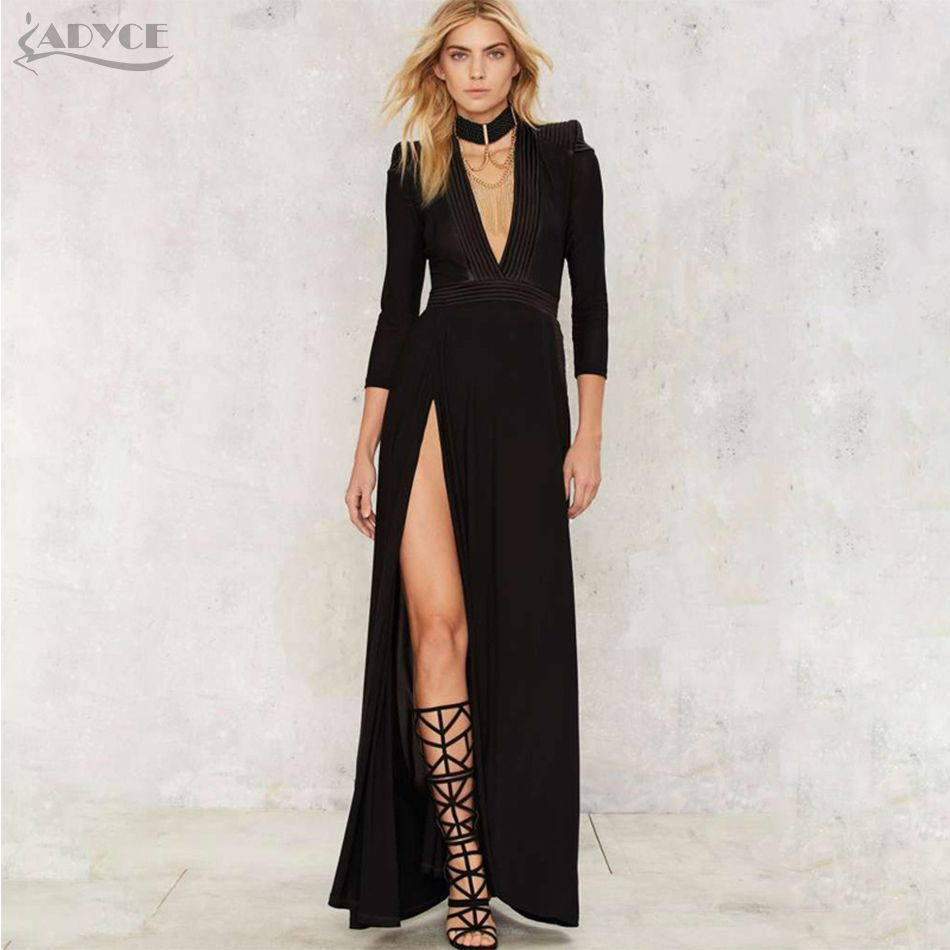 Runway maxi dress women sexy deep v neck slit summer long dress