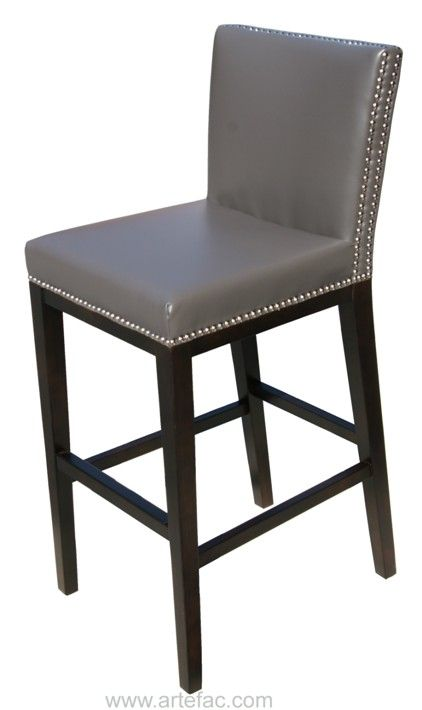 Sr 75873 Leather Bar X2f Counter Stool With Nail Head Grey