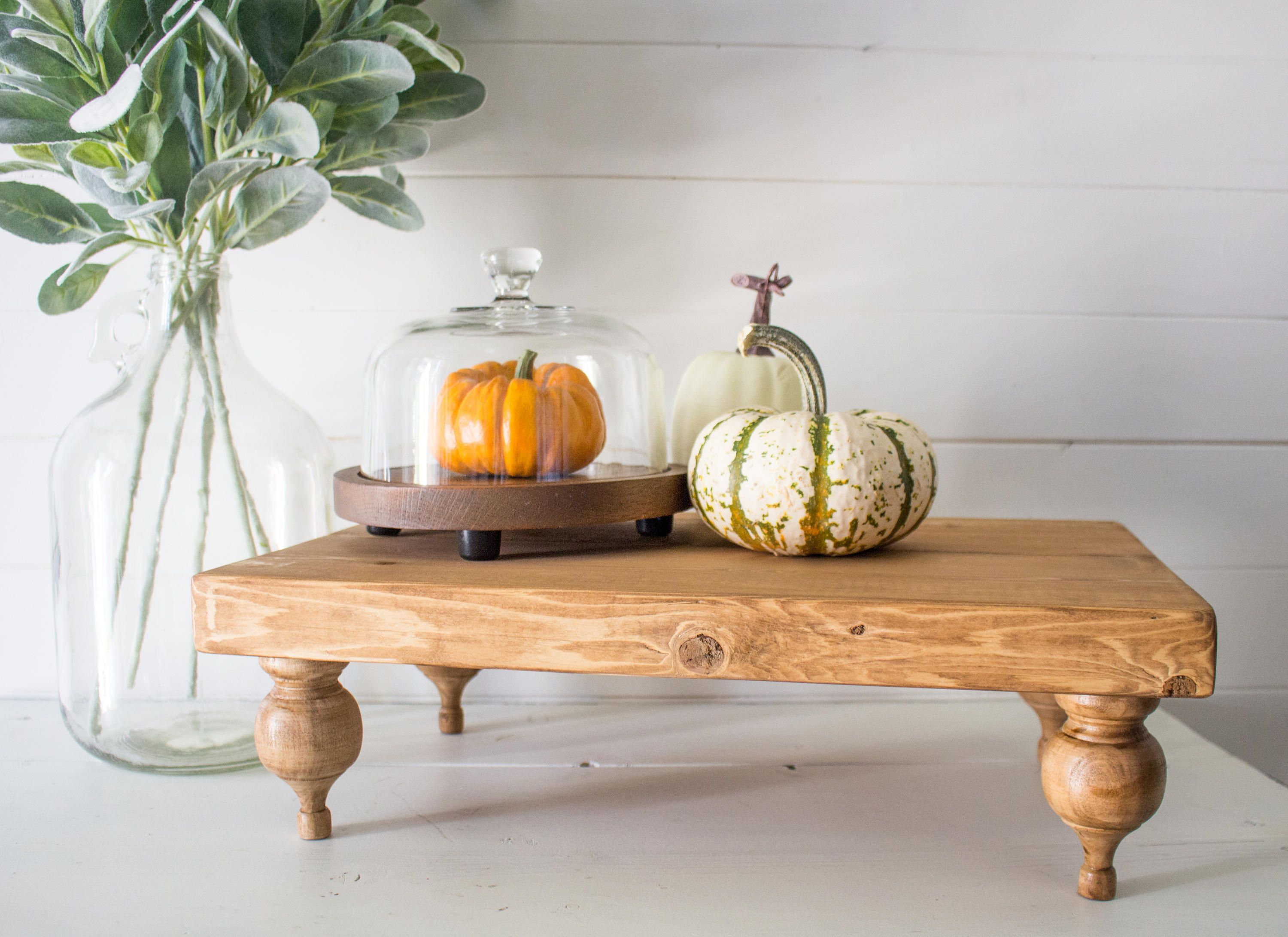 Farmhouse Riser Pedestaltray Rustic Wood Plank Farmhouse Style Riser Tray Centerpiece Decor Display With Turned Finial Legs Decor Wood Planks Wood Planks Diy