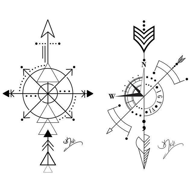 4405e2110f5c5 arrow compass Tattoos | Double compass/arrow Wednesday this week  @deewhytattoo. e: kintzart@ .