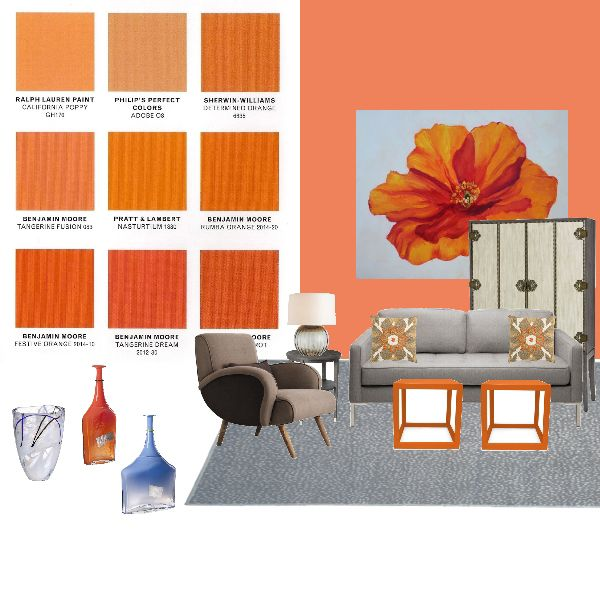 Front Door Featuring Paint Color Tangerine Fusion By Benjamin Moore And Artwork Artist Amy Whitehouse