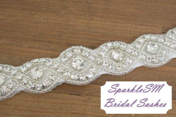 Braided Rhinestone Bridal Sash Beaded Crystal Sash by SparkleSM, $125.00