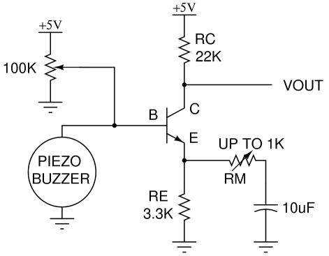 example of simple amplifier circuit for piezo sensor. in