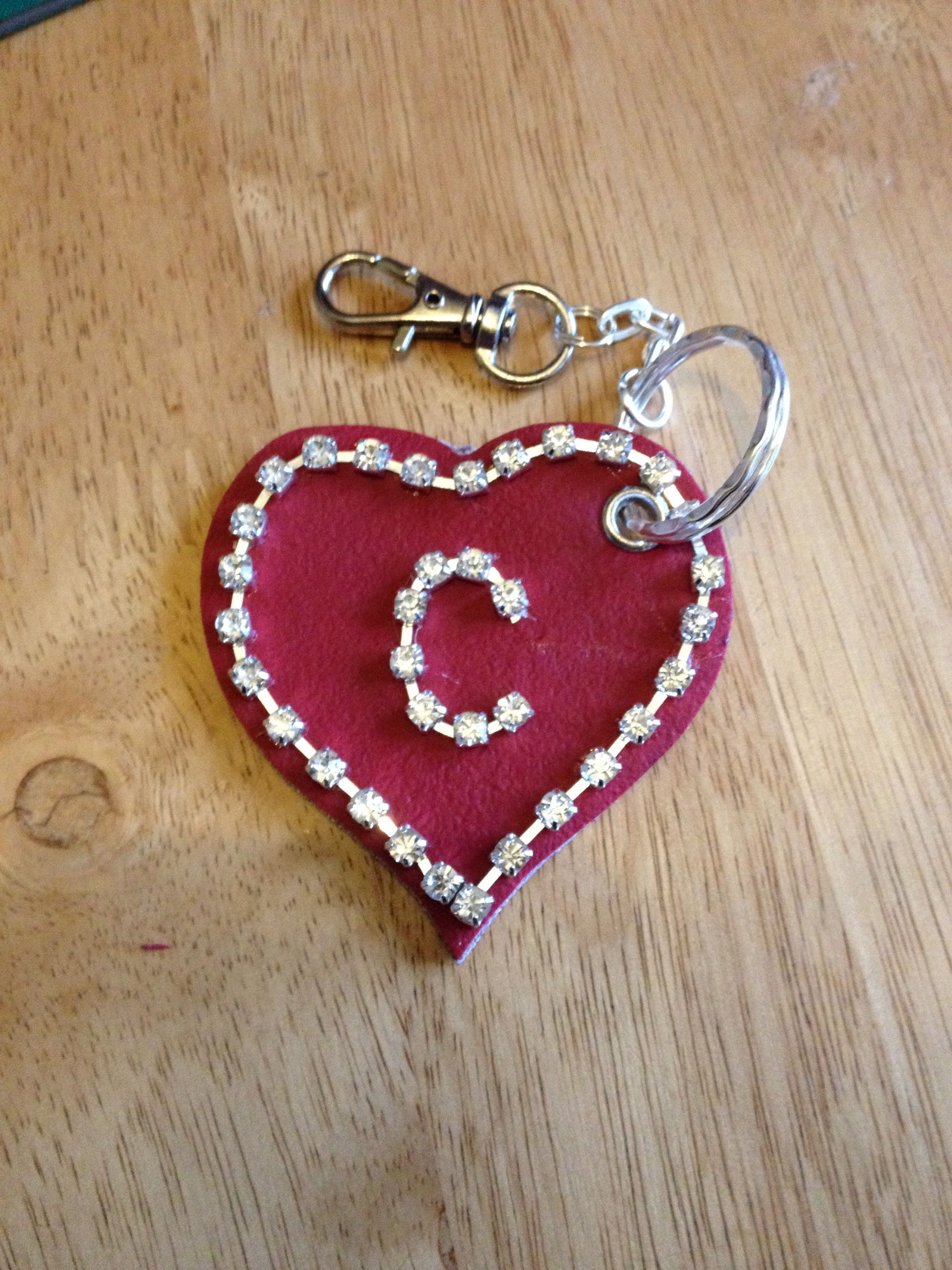 Leather and jewelled initial keyring