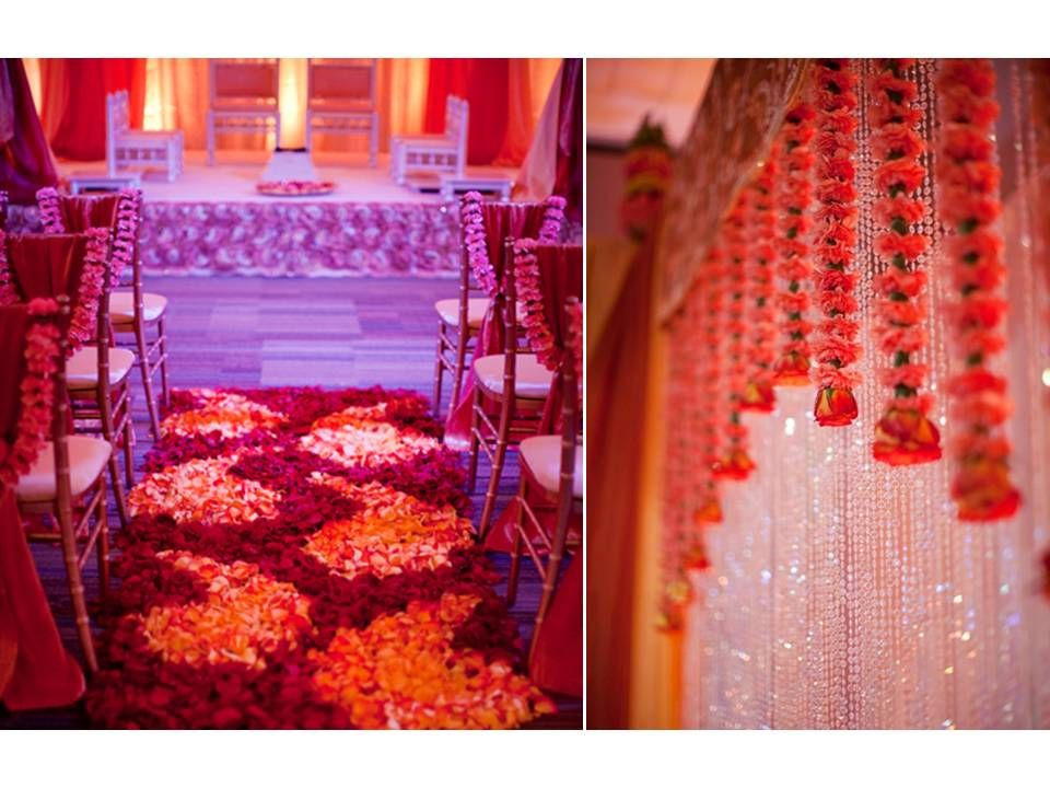 chic wedding reception decor red orange color palette crystals rose petals down ceremony aisle. Black Bedroom Furniture Sets. Home Design Ideas