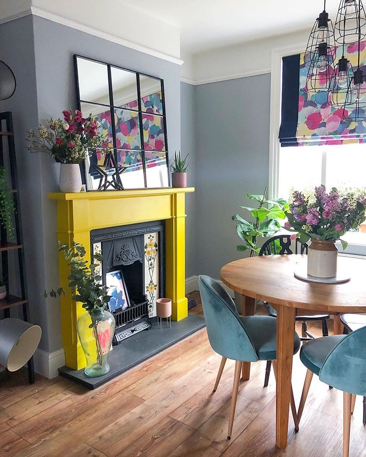 Colourful Home Decor Colourful Decor Ideas Colourful Interiors Yellow Fireplace Interior House Colors Interior Decorating Living Room Living Room Decor Gray