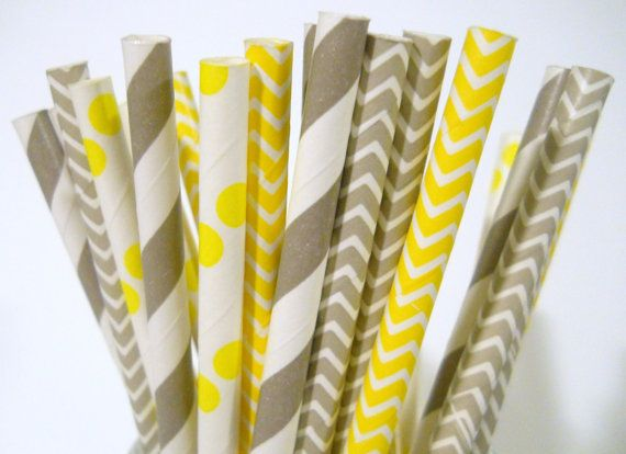 Gray and Yellow Paper Straws  QTY 25  Paper by LouTinenEvents, $3.95