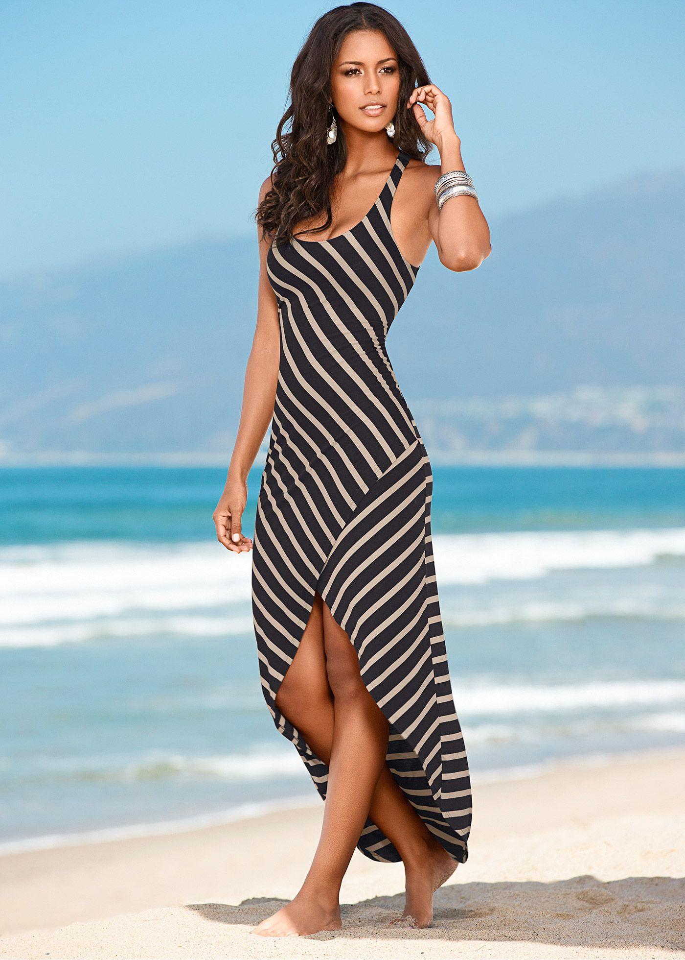a9279f603 Vestido listrado preto com nude encomendar agora na loja on-line bonprix.de  R$ 99,90 a partir de Vestido longo listrado, fashion e casual. Decote nas .