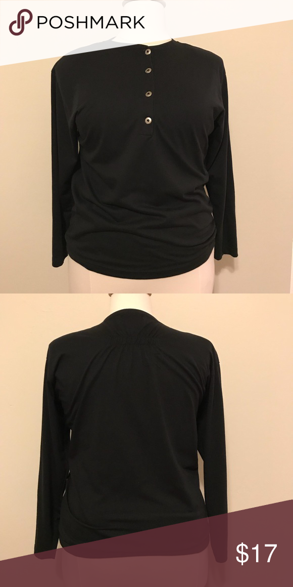 325c804d vintage 80s simple black long sleeve T-shirt This is a simple black long  sleeve top made of 65% polyester and 35% cotton. There are 4 original  buttons at ...