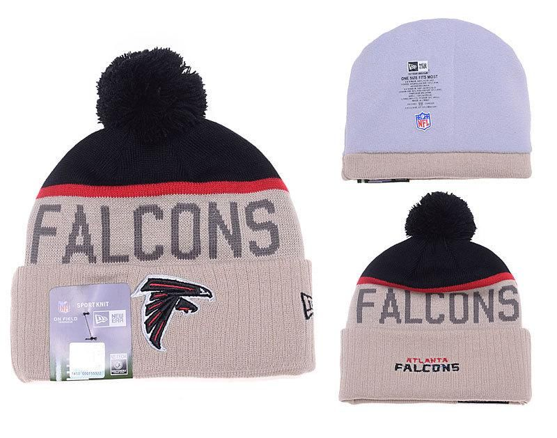 bdd4902efc5a9 Mens Womens Atlanta Falcons New Era 2016 NFL Gray Sport Vivid Team Logo  Cuff Knit Pom Beanie Cap - Grey   Black