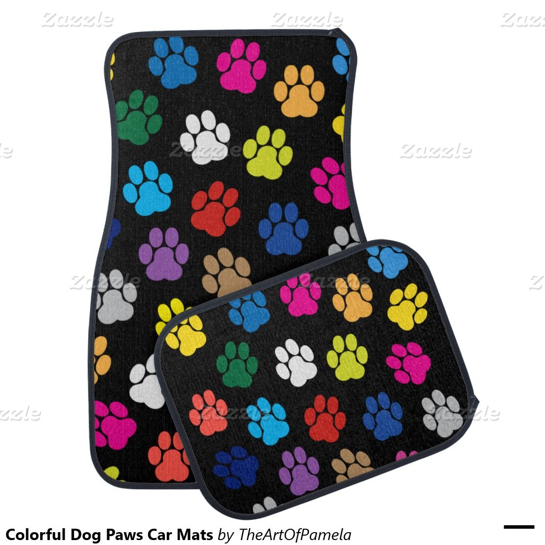 Colorful dog paws car mats car mats