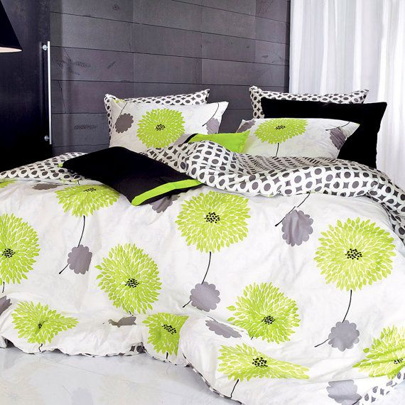 1100TC Lime Green & Gray Floral Queen Sheet Set By BHDecor On Etsy, $265.95