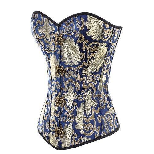Blue with Gold and Silver Brocade Pattern Fashion Corset