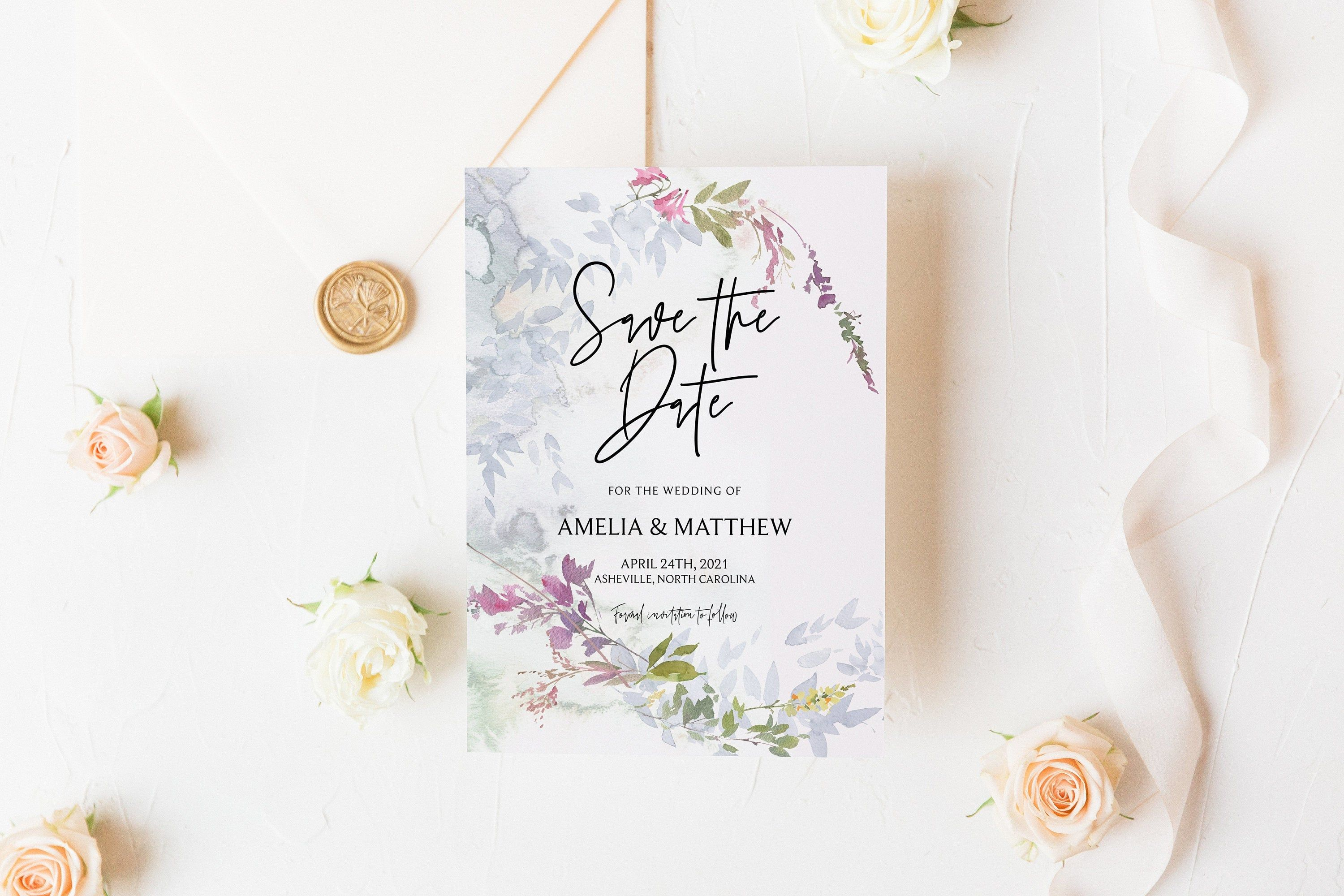 floral wildflower wedding save the dates 50 save the date cards