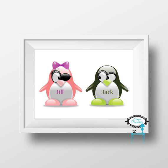Personalized Twin Penguin Wall Art Print  8 x 10 by stagedpresents - $5.00 - www.stagedpresents.etsy.com - #twinart #nurseryart #personalized #custom #boygirltwins