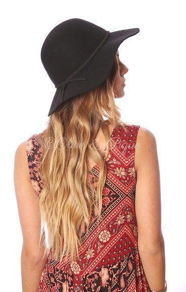 92838b31b04 Black small brim floppy hat with braided suede trim