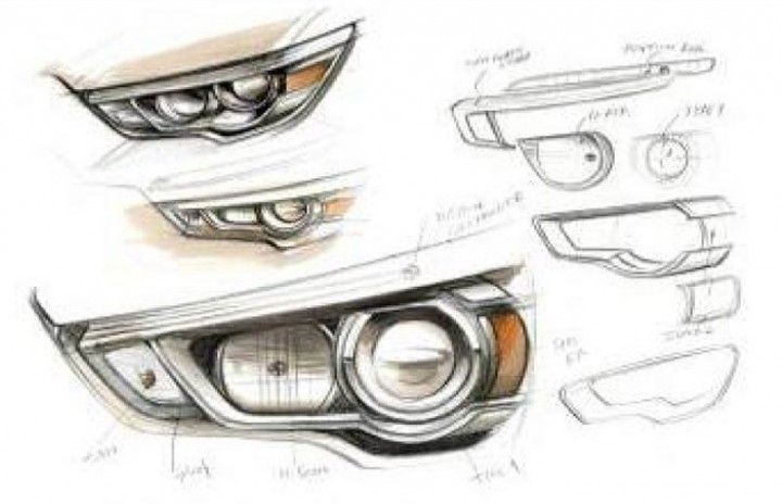 Mitsubishi Asx Headlight Design Sketches From The Gallery Automotive Exteriors Headlights Car Design Sketch Design Sketch Industrial Design Sketch