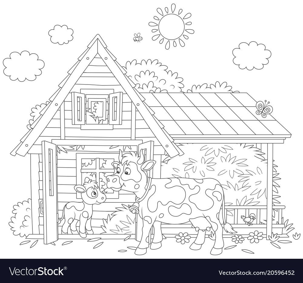 Spotted Cow And Her Small Calf Near Their Barn On A Milk Farm A Black And White Vector Illustration In A Cartoon Style Coloring Books Cow Calf Coloring Pages [ 934 x 1000 Pixel ]