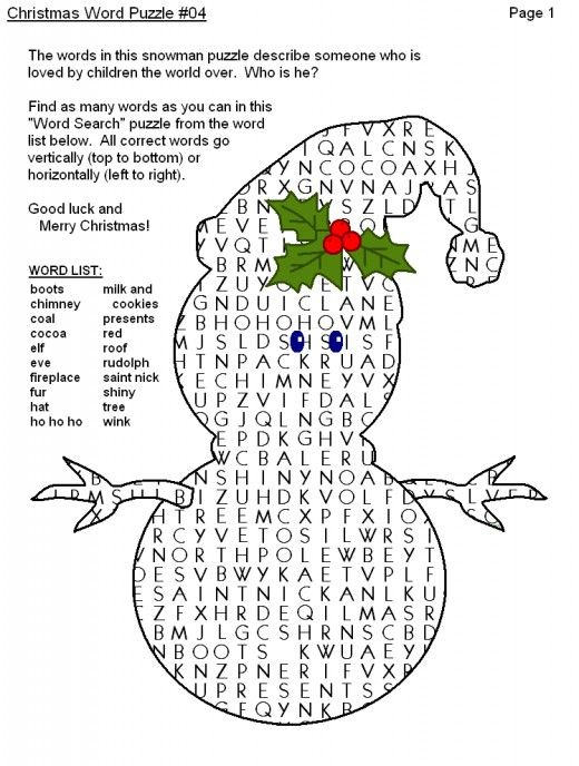 Christmas Word Puzzle Word Search Printables  Christmas words